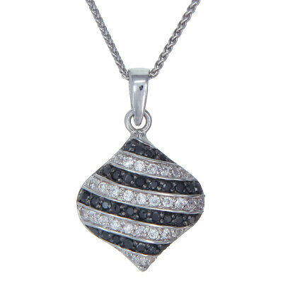 0.90 CT Black Diamond Pendant .925 Sterling Silver With Chain