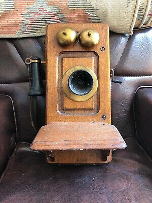 Antique Kellogg Wall Wood Wall Crank Electric Vintage Wooden Phone