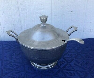 Vintage The Wilton CO Pewter Soup Tureen Pot Covered Bowl With Ladle Spoon