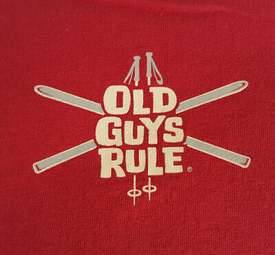 INV1718 - Old Guys Rule Large T Shirt EUC Ski Skiing Big Air Red Pull My Finger