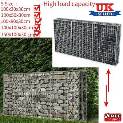 Garden Gabion Wall with Cover Welded Mesh Rock-Stone Wall Basket Multiple Sizes