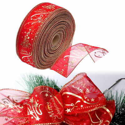 1m 63mm WIRED RIBBON RED & GOLD GLITTER SPARKLE CHRISTMAS,CAKE TREE GIFT BOWS