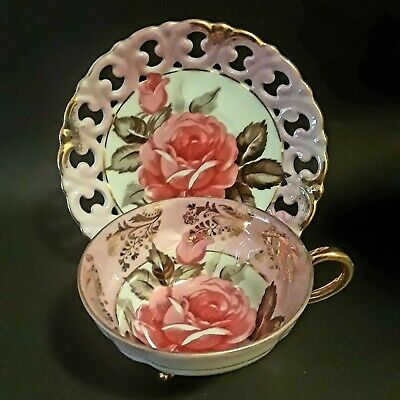 Vintage Royal Sealy China Tea Cup & Retriculated Saucer / Floral w/Gold / Teacup