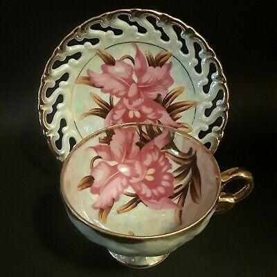 Vintage Royal Sealy China Tea Cup & Retriculated Saucer / Luster w/Gold / Teacup
