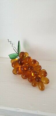 Murano Bunch Of Glass Vintage Grapes , Amber