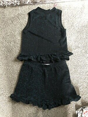 BNWOT Girls Matalan 9 Years Green Black Sparkly Frill Shorts Tank Top Outfit