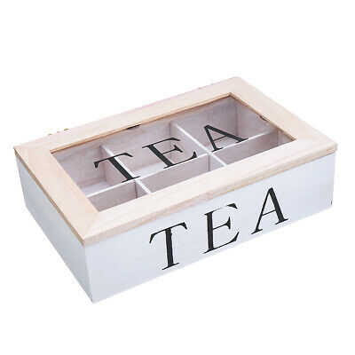 6 Compartments Wooden Tea Bag Storage Box Clear Top Container Storage Chest Tin