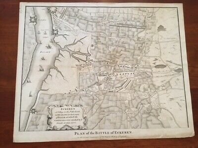 RARE 1745 Folded MAP Plan Battle of ECKEREN, Netherlands, War Spanish Succession
