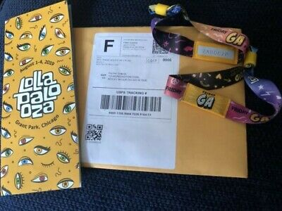2 Lollapalooza Friday Wristbands GA Official Genuine Chicago August 2nd 2019