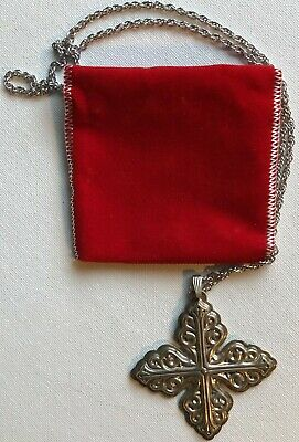 Vintage Reed Barton Christmas Cross Ornament 1978 Sterling Silver Chain Pouch