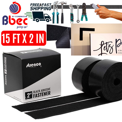 15Ftx2In Adhesive Black Hook and Loop Tape Heavy Duty Sticky Back Fastener 2Pack
