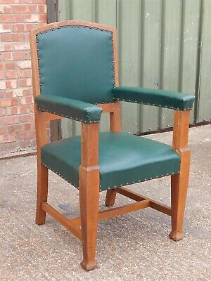 HUGE Kenrick & Jefferson solid oak & leather throne style captains chair Masonic