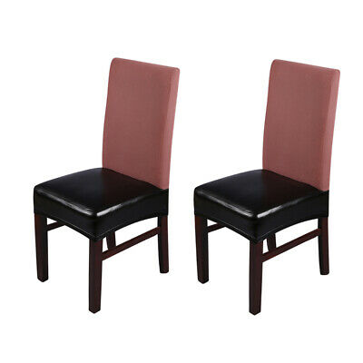 2pcs PU Leather Stretchable Dining Chair Seat Covers Waterproof Oilproof D8M4