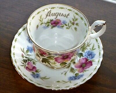 Royal Albert August Flower of the Month Poppy Teacup & Saucer Superb