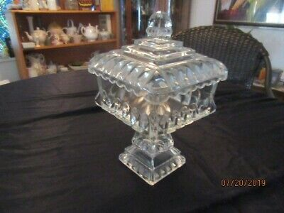 Glass compote, Wedding cake crystal container. Excellent,very slightly used cond
