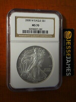 2008 W Burnished Silver Eagle Ngc Ms70 Classic Brown Label