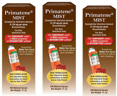 (3) PRIMATENE MIST ASTHMA RELIEF INHALER 160 ea, 480 Metered Sprays Exp 09/2020
