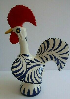 traditional Portugese Good Luck ROOSTER Portugal red white & blue IMPERFECT