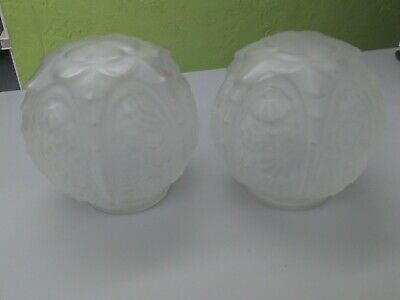 Pair of Elegant Vianne Mouth Blown Frosted Embossed Light Globes