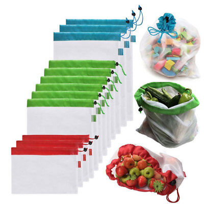 15x Eco Reusable Home Mesh Produce Bags Superior Double-Stitched Strength AU New