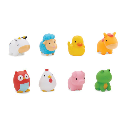 Munchkin Floating Farm Animal Themed Rubber Bath Squirt Toys for Baby, Pack of 8