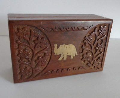Carved Wooded Tea Box with Brass Inlay Elephant Jewelry Trinkets Vintage