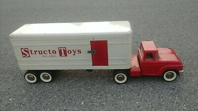 Vintage Structo Toys Great Bend Pressed Metal Red White Tractor Trailer