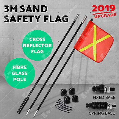 3m High Sand Safety Flag 4WD Towing Offroad Touring 4x4 Simpson Desert Two Bases