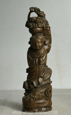 18CM Antique Old Chinese Wood Hand Carved Tongzi Girl Flower Basket Statue