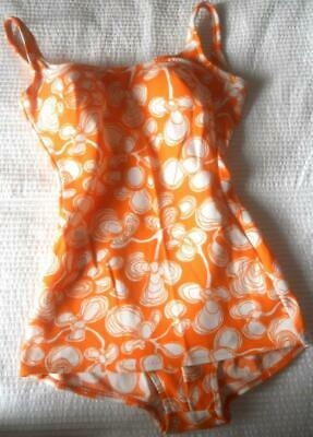 Vintage 1960'S Genevieve Orange White Flower Print Swimsuit Bathers 36