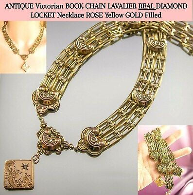 ANTIQUE Victorian BOOK CHAIN LAVALIER DIAMOND LOCKET Necklace ROSE Yellow GOLD F