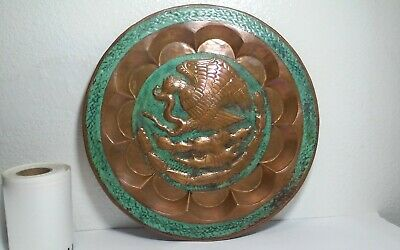 Vintage,old incredible Mexican folk art copper charger patina,wall sculpture