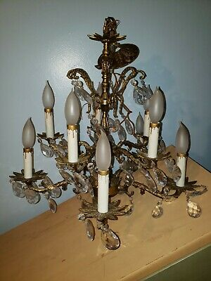 Vintage Spanish Brass Chandelier Stunning Leaded Crystals Gorgeous Ceiling Light