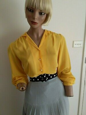 KATIES Vintage 80s CANARY YELLOW Sheer L/S Blouse with Pearl Buttons Size S-M