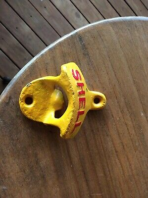 Shell Cast Iron Wall Bottle Opener in Yellow - Man Cave Bar Pub Garage Retro