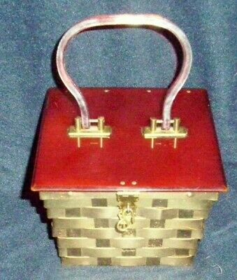 Vintage Dorset Rex 5th Avenue Bakelite GOLD WEAVED METAL HAND BAG RED LUCITE TOP