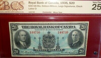 1935 $20   Canada Chartered Banknote
