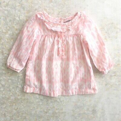 Carter's Girls Top 18 Mos Cotton Print Ruffled Pink White Long Sleeve