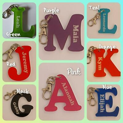 Acrylic Letter Personalised Key Rings, School Bag Tags, Bag Tag, Lobster Clip