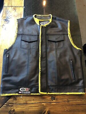 Custom Made Black Soft Leather Waistcoat With Yellow Lining Xl