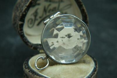 Stunning Antique Victorian Faceted Faceted Glass & Silver Locket Pendant Charm