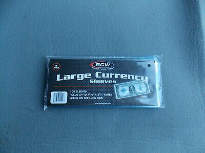 100 BCW Large Bill Currency Sleeves - Protectors - Money Holders 1-SSLV-LB