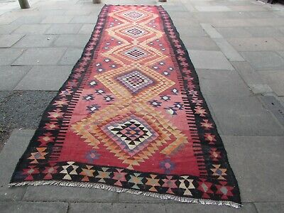 Vintage Traditional Hand Made Oriental Wool Red Long Kilim Runner 528x158cm