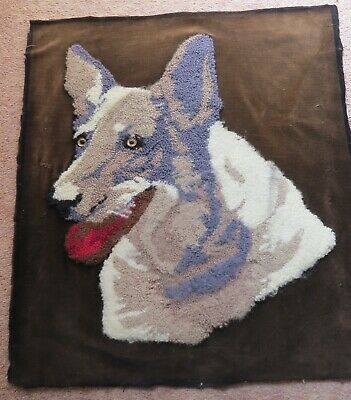 "Completed wool worked dog with glass eyes. Unusual 18"" x 16 "" aprox."