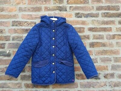 😍🐎🏆🐴 JOULES MARCOTTE Navy Quilted Equestrian Print Jacket School Coat 8y...