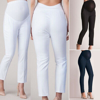 Women Casual High Waist Pregnant Pencil Pants Maternity Office Long Trousers New