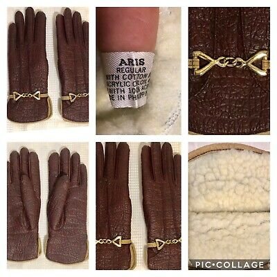 VTG. ARIS WOMEN'S GLOVES, VINTAGE (Brick Colored Brown) STYLISH & WARM! 1960's!