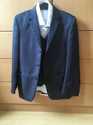Boys  3 Piece Navy Suit With White Shirt Age 9