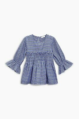 Girls Next Blue Gingham Fluted Sleeve Blouse Top Age 7 Years