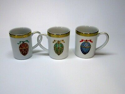 3 Royal Gallery Gold Buffet Faberge Eggs Cups